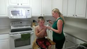 Michael Getting a Haircut